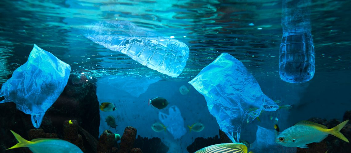 Environmental pollution of plastic water bottle in the ocean